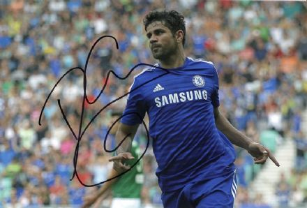 Diego Costa, Chelsea & Spain, signed 12x8 inch photo.